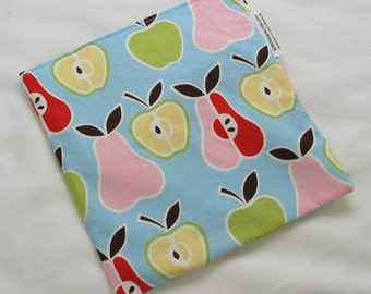 Back to School Eco Friendly Reusable Large Sandwich Bag - Apples and Pears Fabric