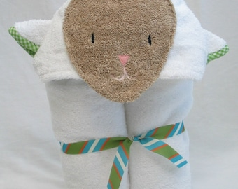 PERSONALIZED Lamb Hooded Bath Towel - Baby Shower Present - White with Green Gingham Trim