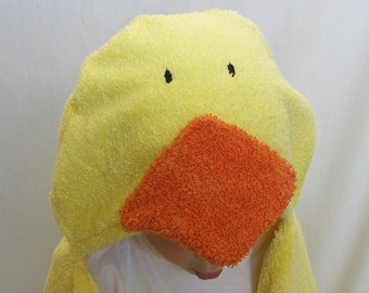 PERSONALIZED Hooded Towel - Yellow Duck / Chick Bath towel for Infant Toddler or Child - Great for pool too
