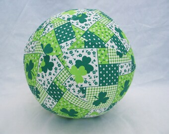 Balloon Ball - St Patricks Green and White Clover Fabric
