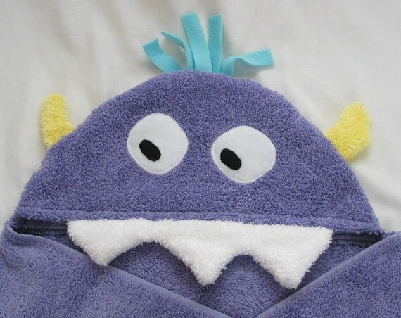 Reserved for  mandablum - Purple Monster Hooded Towel