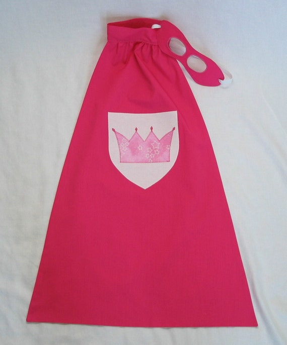 Little Super Hero Princess Cape and Mask Set - PINK with light pink Glitter crown - great gift