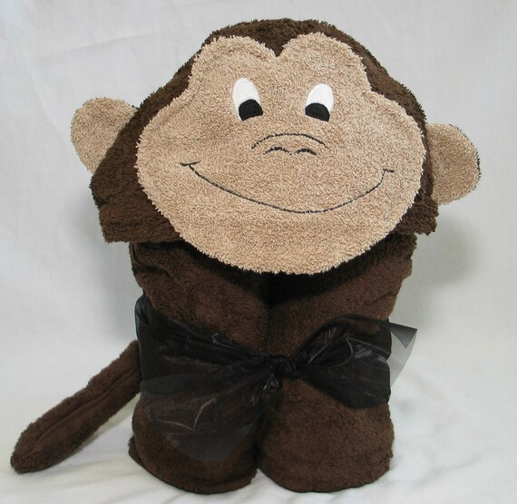 Monkey Hooded Bath Towel - Dark Chocolate Brown for Infant Toddler or Child - Great Birthday Or Baby Shower gift