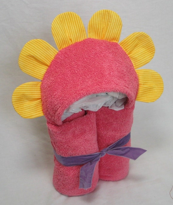 Flower Hooded Bath Towel - Hot Pink and Yellow with a little Ladybug for Infant Toddler Child