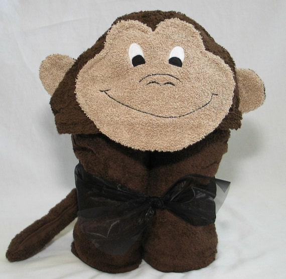 PERSONALIZED Brown Monkey Hooded Bath Towel - For Infant Toddler or Children