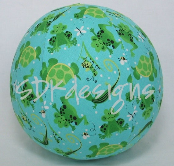 Balloon BALL TOY - Nature Lovers Fabric - Frogs, Turtles, Lizards, Grasshoppers & bugs