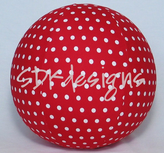 Balloon Ball - RED with small white polka dots fabric - great kids TOY as seen with Michelle Obama for Parenting.com