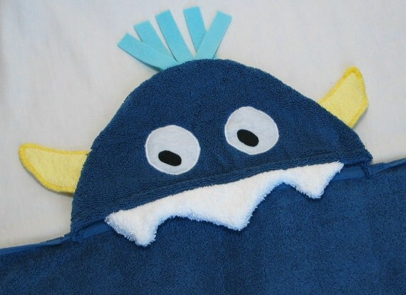 PERSONALIZED Hooded Towel -  Blue Silly Monster for Infant / Toddler / Child Bath