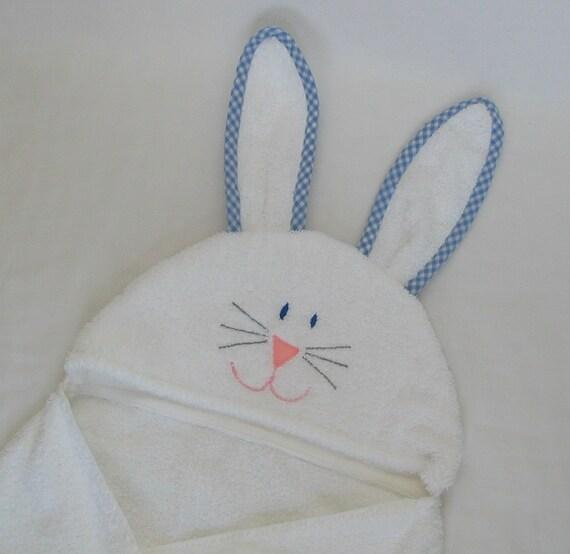 Boy EASTER Bunny Rabbit Hooded Bath Towel- BLUE gingham trim -  Infant / Toddler / Child