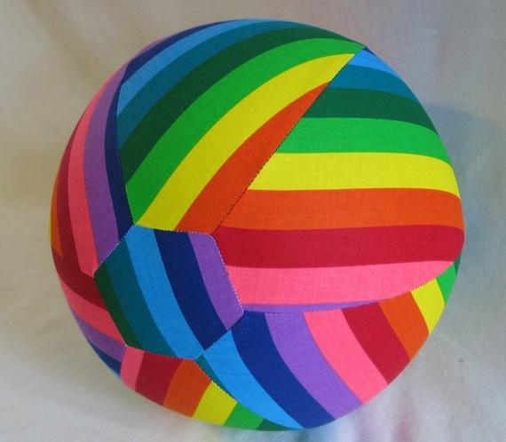 Fabric Balloon Ball TOY - Bright Fun Rainbow Stripes