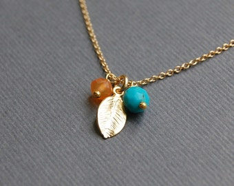Petite Necklace with Carnelian, Turquoise and Delicate Leaf Charm in Your Choice of Gold or Sterling Silver