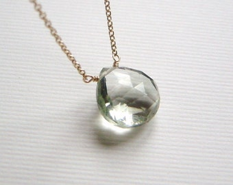 Green Amethyst Gold Necklace, Simple Solitaire