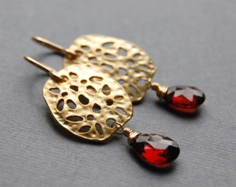 January's Birthstone - Garnet Earrings with Modern Floral Connector