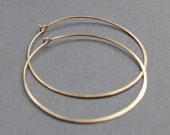"Hammered Gold Filled or Sterling Silver Hoops, 1.75"" Simple Everyday Earrings"