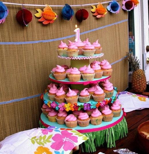 Luau Theme Cupcake Stand