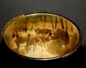Vintage Horse Scene in Oval Metal Frame with Convex Bubble Glass