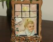 Wall Pocket Vase, Vintage Porcelain MIJ - Darling Embossed Figural, Girl Gazing Out Window