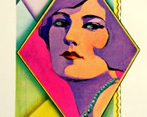 Modernistic Flapper, Vintage Ad: 1920s Art Deco Color Engraving, Radiant Bright Colors, Cubist Influence