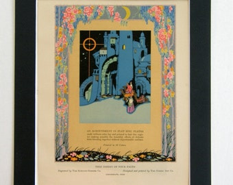 1927 Arts & Crafts Print, Christmas Card Samples: Astounding 15-Color Chromolithos of Wise Men and Princess
