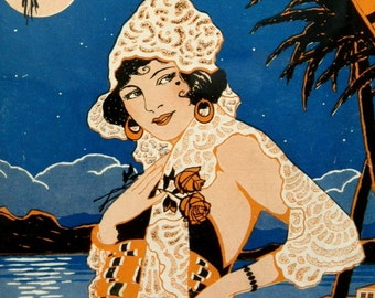 Art Deco Latina Flapper Pinup Style Print - 1922 Rio Nights Sheet Music Cover, Matted and Ready to Frame