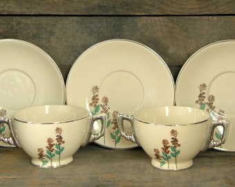 Art Deco Leigh Ware: Ultra Wildflower Cream Soup Cup & Saucer Set - Perfect for Hot Cocoa or Cappucino