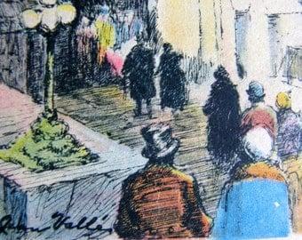 Vintage Art Deco Christmas Postcard: 1934 Color Engraving, Signed Jean Valles