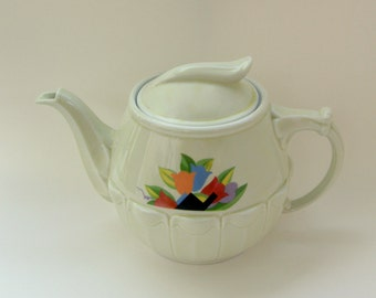 Art Deco Hall Drip-o-lator Coffeepot: Ivory w/ Abstract Tulips in Miami Beach Colors