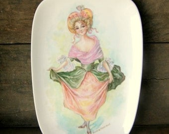 Handpainted Porcelain Tray: 1800s Lady in Pink Roses, Shabby, Cottage Chic, Signed by Artist, Dollmaker Ruth Trainor