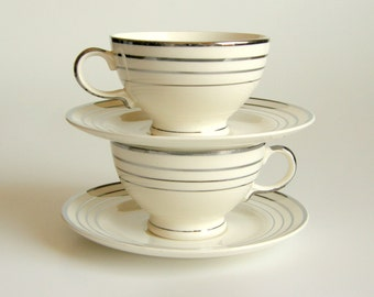 Art Deco Salem Saphire Cups, Zephyr Pattern, White w/ Platinum Streamlines, Set of 2, 4 Prs Available