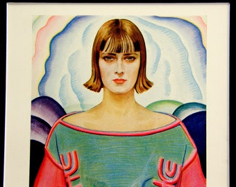 "Vintage Roaring 20s Print of Woman in Pastel Colors: Winold Reiss Art Deco Illustration, ""A Modern Masterpiece"""