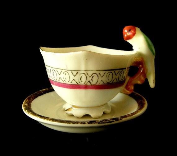 Mini Teacup and Saucer Set Parrot Handle MIJ