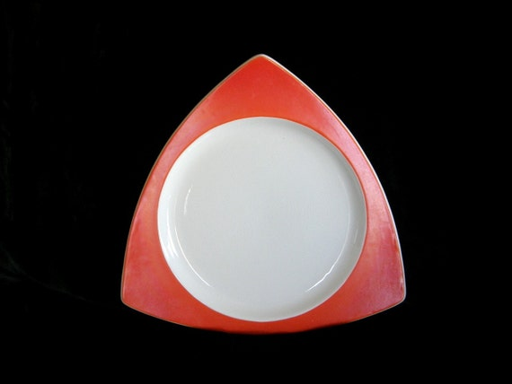 Vintage Atomic Platter: Art Deco Salem Tricorne Triangle Tray in Mandarin Orange - RESERVED for Rosenthal-McManus Wedding Registry