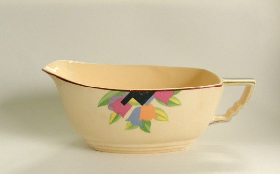 Art Deco Sauce Boat or Gravy Pitcher - Crescent China Sienna Ware, Deco Tulip / Leigh Paris  - RESERVED for Kyle