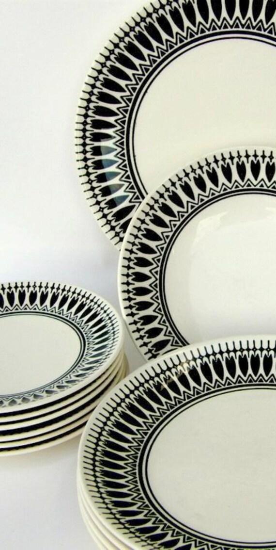 black white vintage dinnerware set night song by royal. Black Bedroom Furniture Sets. Home Design Ideas