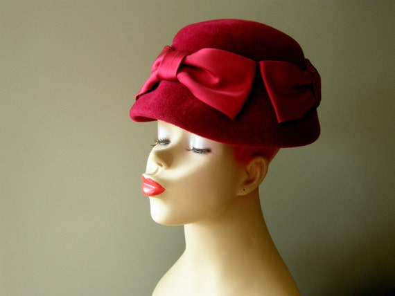 Vintage Cloche Hat - Deep Red Felted Wool with Large Silk Satin Bows, 1960s - RESERVED for olearylauren