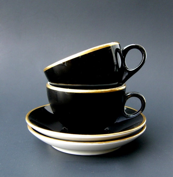 Demitasse Cup & Saucer Sets, Pair: Mid Century Mayer China, Glossy Black w/ Gold Trim