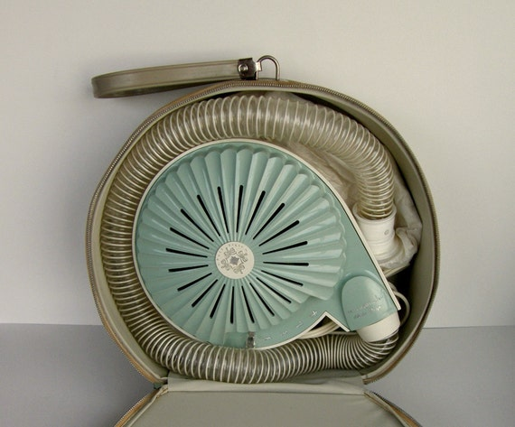 Retro Sixties Hair Dryer: Bonnet Style in Pearl & Aqua, w/ Taupe Clamshell Carrying Case, Works