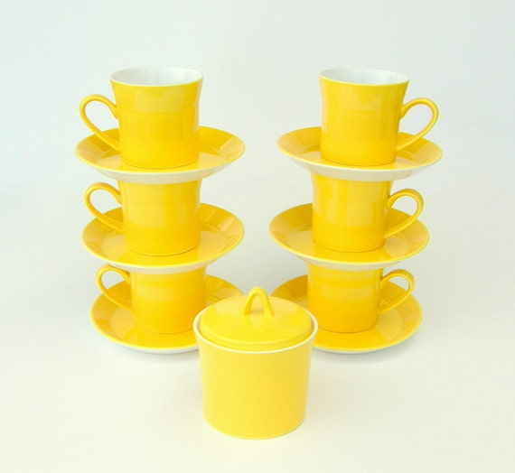 Mod Yellow Coffee Cups & Saucers, Sugar Bowl: New Zealand's Crown Lynn Forma - Charmaine 333, Set of 6