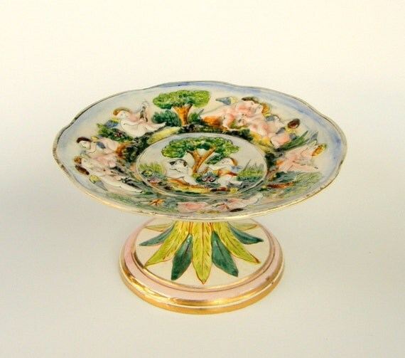 Angelic Capodimonte Compote / Cake Stand: Italianate Angels, Adam & Eve, Putti Musicians - RESERVED for Karen