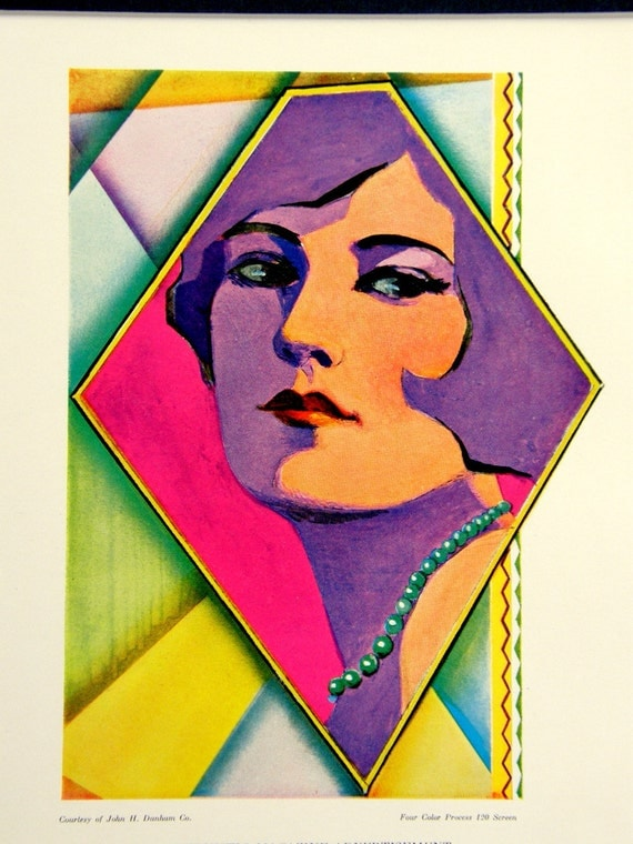 Modernistic Flapper, Vintage Ad: 1920s Art Deco Color Engraving, Radiant Bright Colors, Cubist Influence