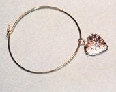 gold heart locket clasp bangle bracelet