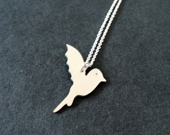 Hummingbird necklace. Sterling silver. Handmade. Contemporary design.
