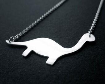 Diplodocus the friendly dinosaur necklace. Sterling silver. Handmade. Contemporary design.