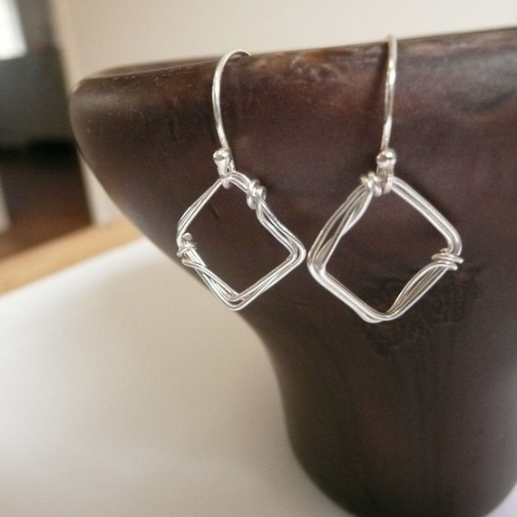 Square sterling silver wire earrings