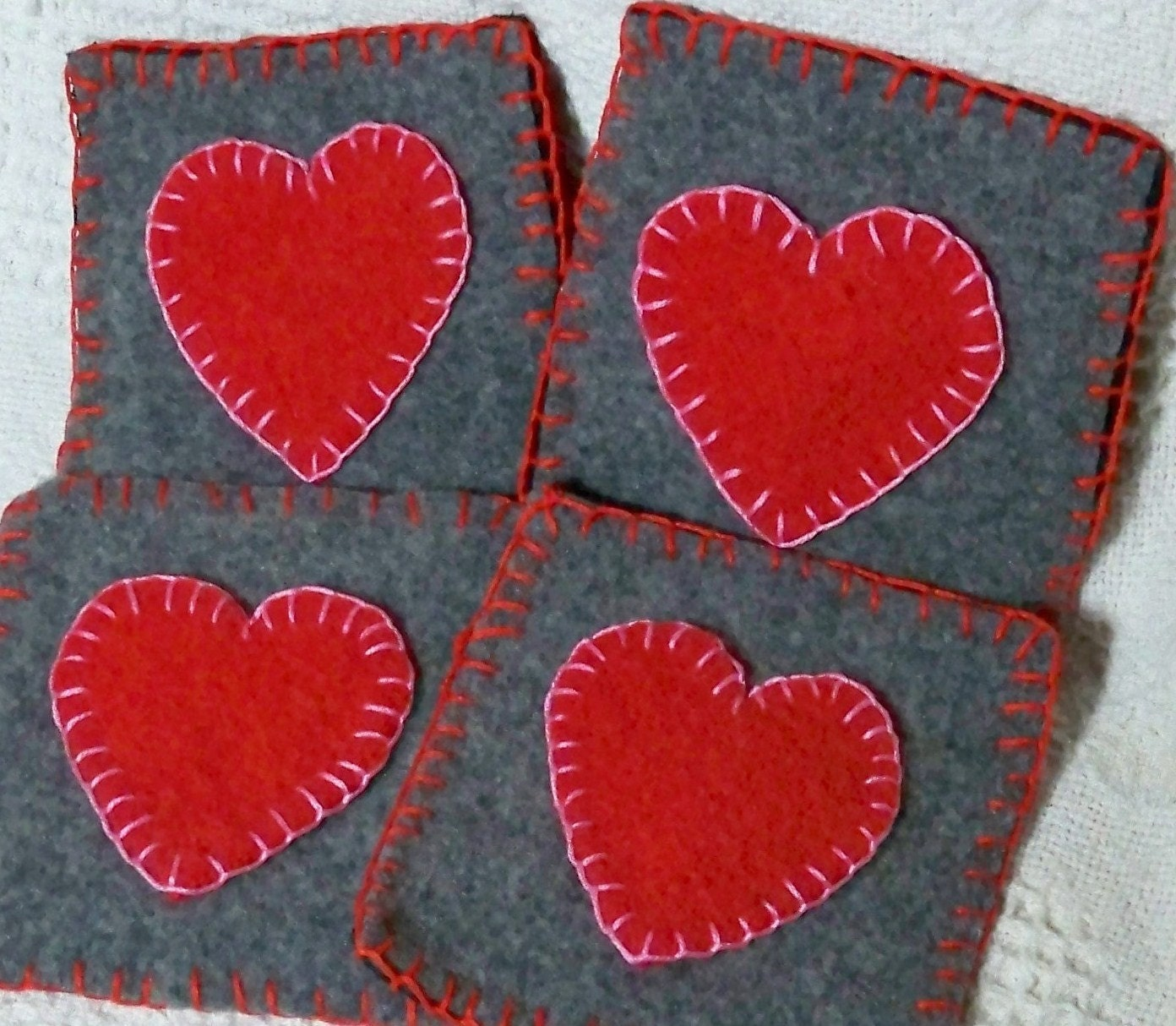 Penny rug heart wool coasters for Penny coasters