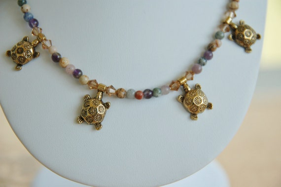 Brass Turtle, Semi Precious Necklace