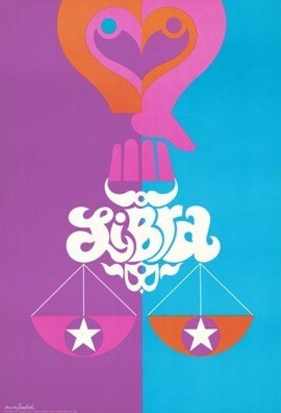 1969 Original Vintage Zodiac Poster - Libra