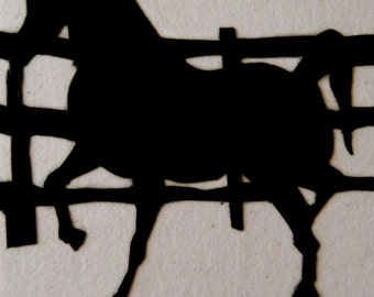 Arabian Horse Silhouette ACEO hand cut paper scherinschnitte