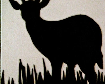Whitetail deer Silhouette ACEO hand cut paper scherinschnitte