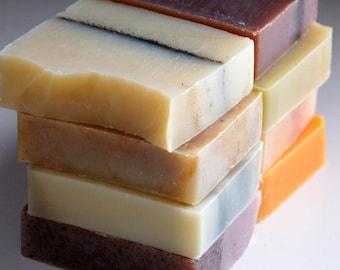 Three bars of Mirasol Farm organic soap, vegan with essential oils and botanicals